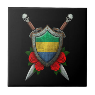 Worn Gabon Flag Shield and Swords with Roses Ceramic Tile