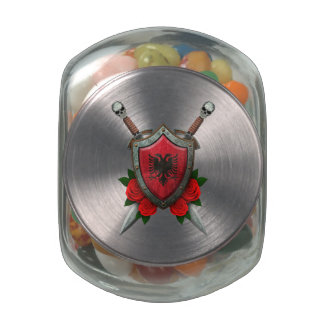 Worn Georgian Flag Shield and Swords with Roses Jelly Belly Candy Jar