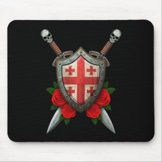 Worn Georgian Flag Shield and Swords with Roses Mouse Pad