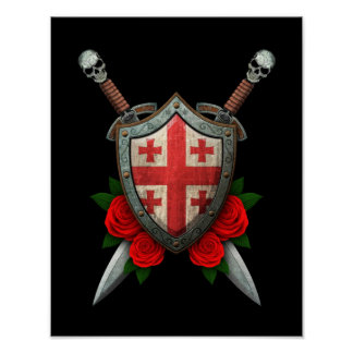 Worn Georgian Flag Shield and Swords with Roses Poster