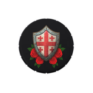 Worn Georgian Flag Shield with Red Roses Jelly Belly Tins