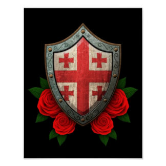 Worn Georgian Flag Shield with Red Roses Poster