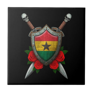 Worn Ghana Flag Shield and Swords with Roses Ceramic Tile