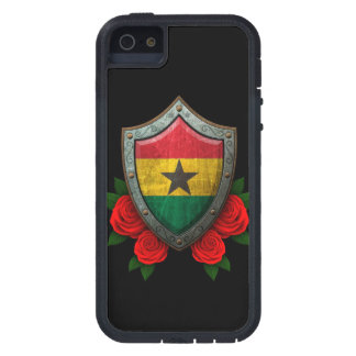 Worn Ghana Flag Shield with Red Roses iPhone SE/5/5s Case