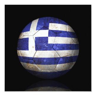 Worn Greek Flag Football Soccer Ball Custom Announcements