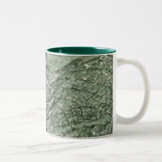 Worn green leaf 11 oz Two-Tone coffee mug