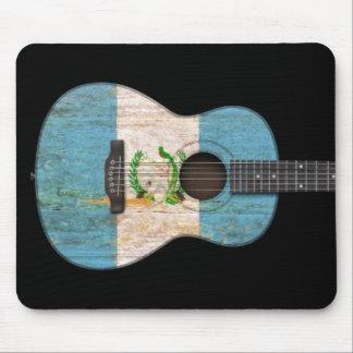Worn Guatemalan Flag Acoustic Guitar, black Mouse Pad