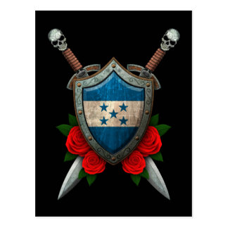 Worn Honduras Flag Shield and Swords with Roses Postcard