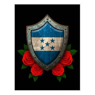 Worn Honduras Flag Shield with Red Roses Postcard