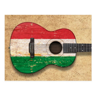 Worn Hungarian Flag Acoustic Guitar Postcard