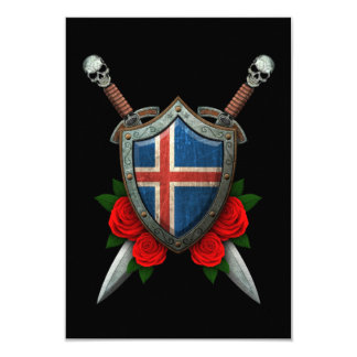 Worn Icelandic Flag Shield and Swords with Roses Card