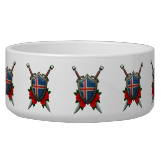 Worn Icelandic Flag Shield and Swords with Roses Pet Food Bowls