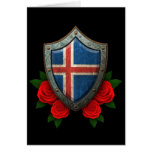 Worn Icelandic Flag Shield with Red Roses Card