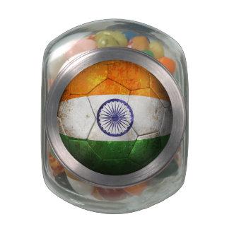 Worn Indian Flag Football Soccer Ball Glass Jars