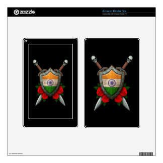 Worn Indian Flag Shield and Swords with Roses Skin For Kindle Fire