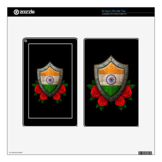 Worn Indian Flag Shield with Red Roses Skin For Kindle Fire