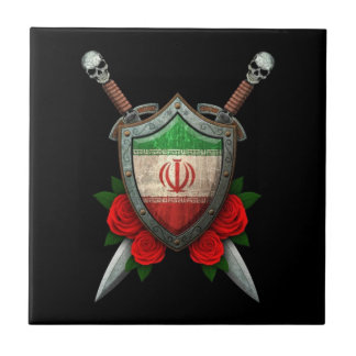 Worn Iranian Flag Shield and Swords with Roses Ceramic Tiles