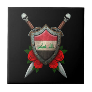 Worn Iraqi Flag Shield and Swords with Roses Ceramic Tiles