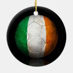 Worn Irish Flag Football Soccer Ball Ceramic Ornament