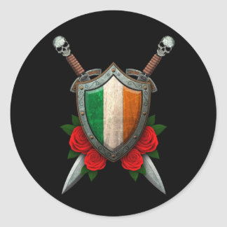 Worn Irish Flag Shield and Swords with Roses Classic Round Sticker