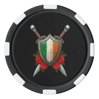 Worn Irish Flag Shield and Swords with Roses Poker Chips