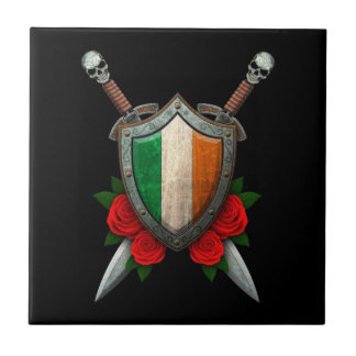 Worn Irish Flag Shield and Swords with Roses Tiles