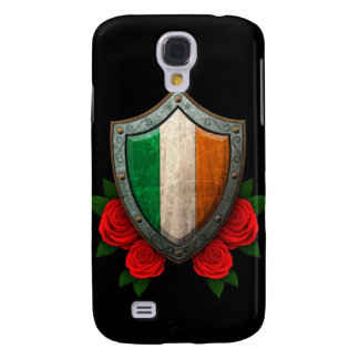 Worn Irish Flag Shield with Red Roses Samsung Galaxy S4 Covers