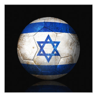 Worn Israeli Flag Football Soccer Ball Personalized Invitations