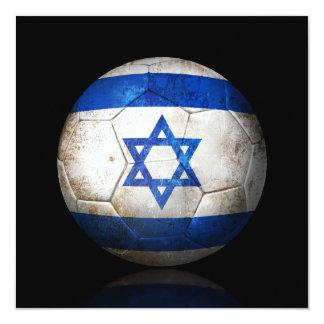 "Worn Israeli Flag Football Soccer Ball 5.25"" Square Invitation Card"