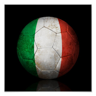 Worn Italian Flag Football Soccer Ball Poster