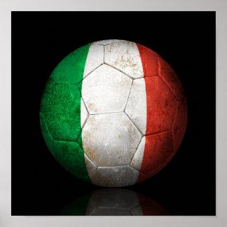 Worn Italian Flag Football Soccer Ball Poster