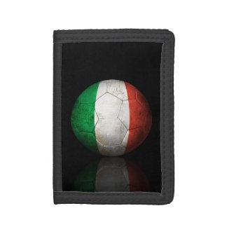 Worn Italian Flag Football Soccer Ball Tri-fold Wallet