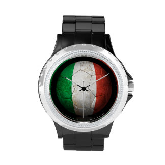 Worn Italian Flag Football Soccer Ball Wrist Watch