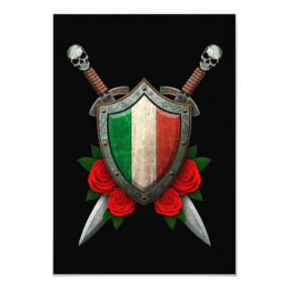 Worn Italian Flag Shield and Swords with Roses Card