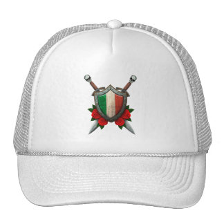 Worn Italian Flag Shield and Swords with Roses Trucker Hat