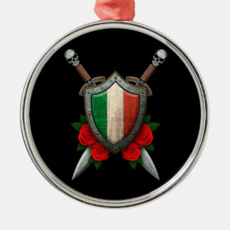 Worn Italian Flag Shield and Swords with Roses Round Metal Christmas Ornament