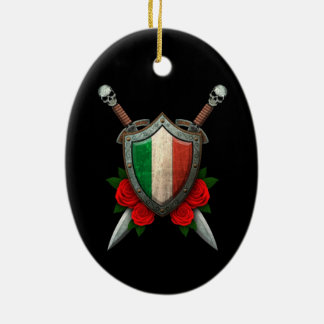 Worn Italian Flag Shield and Swords with Roses Double-Sided Oval Ceramic Christmas Ornament