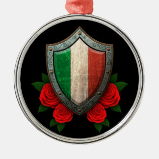 Worn Italian Flag Shield with Red Roses Round Metal Christmas Ornament
