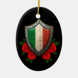 Worn Italian Flag Shield with Red Roses Double-Sided Oval Ceramic Christmas Ornament