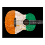 Worn Ivory Coast Flag Acoustic Guitar, black Postcard