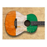Worn Ivory Coast Flag Acoustic Guitar Postcard