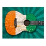 Worn Ivory Coast Flag Acoustic Guitar, teal Postcard