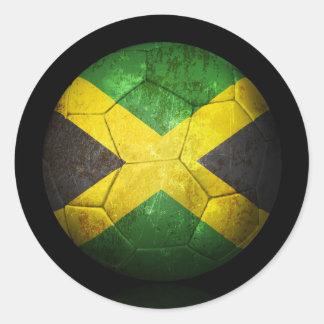 Worn Jamaican Flag Football Soccer Ball Classic Round Sticker