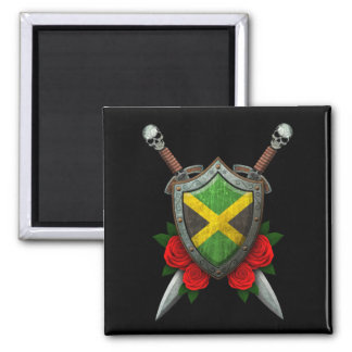 Worn Jamaican Flag Shield and Swords with Roses 2 Inch Square Magnet