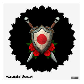 Worn Japanese Flag Shield and Swords with Roses Wall Sticker