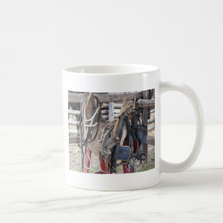 Worn leather horse bridles and bits coffee mug
