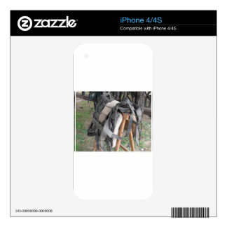 Worn leather horse bridles and bits decals for the iPhone 4