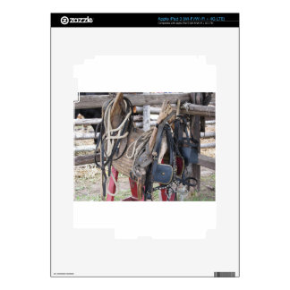 Worn leather horse bridles and bits iPad 3 decal