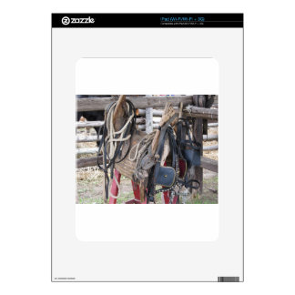 Worn leather horse bridles and bits iPad skins