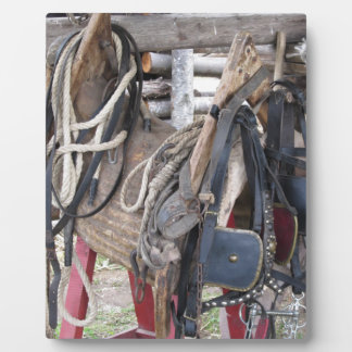 Worn leather horse bridles and bits plaque